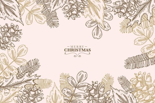 Fondo de ramas de árbol de navidad vintage