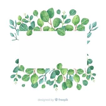 Fondo ramas de eucalipto dibujadas a mano con espacio en blanco