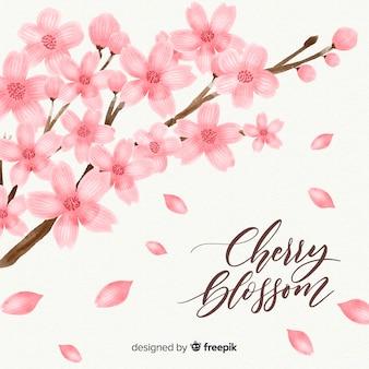 Fondo de ramas y flores de cerezo en acuarela