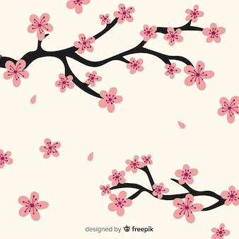 Fondo de ramas y flores de cerezo dibujado a mano