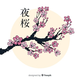 Fondo de ramas y flores de cerezo en tinta