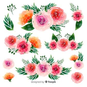 Fondo de ramo de flores hermosas acuarela