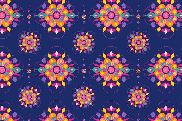 Fondo de rangoli de patrón de mandala indio de diwali