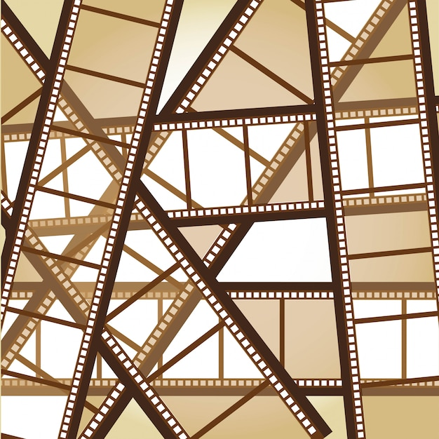 Fondo de rayas de película vieja marrón