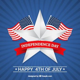 Fondo de rayos de sol con banderas y estrella para el día de la independencia