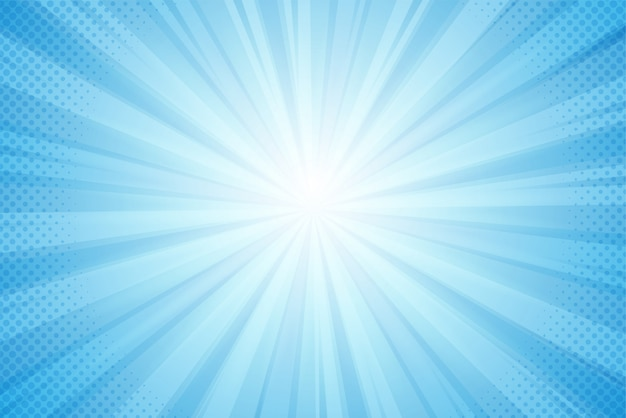 Fondo de rayos del sol, luz azul en un estilo cómico