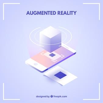 Fondo de realidad aumentada en estilo isométrico