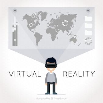 Fondo de realidad virtual con mapa del mundo y el hombre usando gafas virtuales