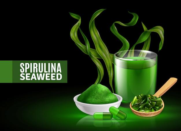 Fondo realista de algas espirulina