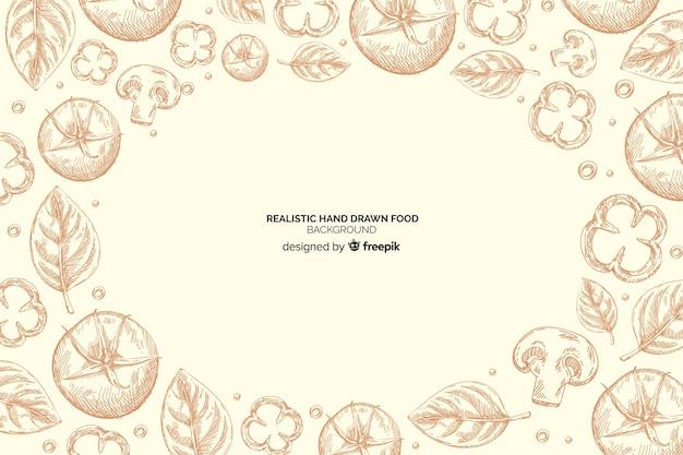 Fondo realista de alimentos dibujados