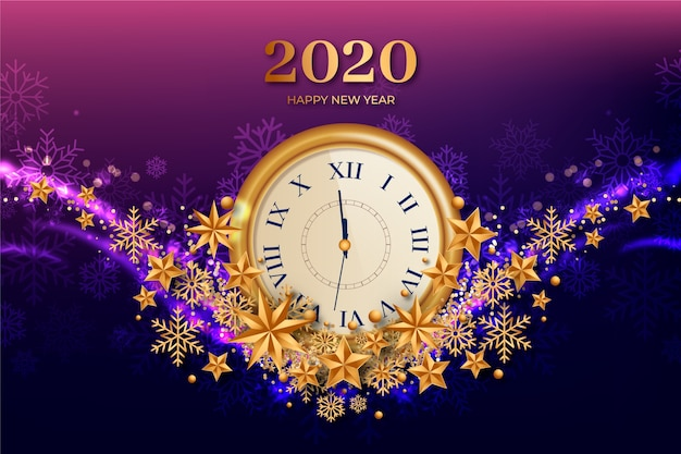 Fondo realista de año nuevo 2020 reloj