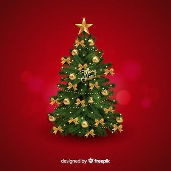 Fondo realista del árbol de navidad