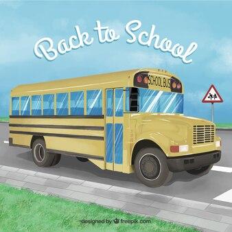 Fondo realista de autobús escolara