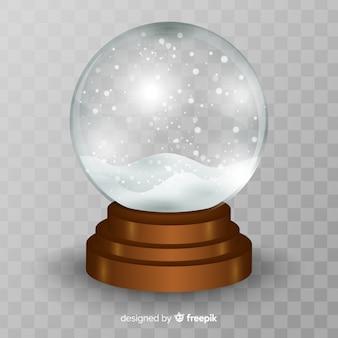 Fondo realista con bola de nieve de cristal de navidad