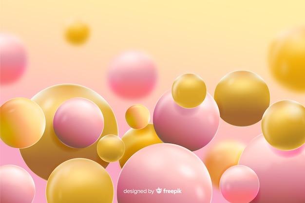 Fondo realista de bolas amarillas que fluye