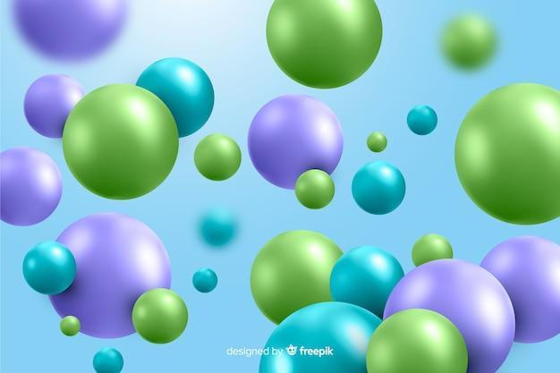 Fondo realista de bolas de plástico brillante