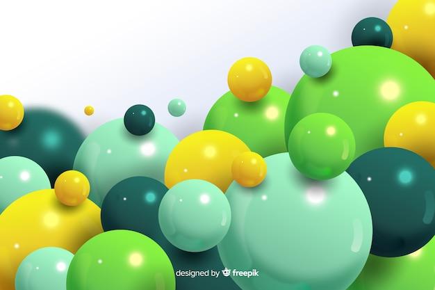 Fondo realista de bolas verdes que fluye