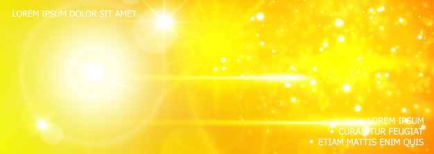 Fondo realista de brillo y efectos de luz con destello de lente, destellos de luz solar, efectos de flash en colores amarillos