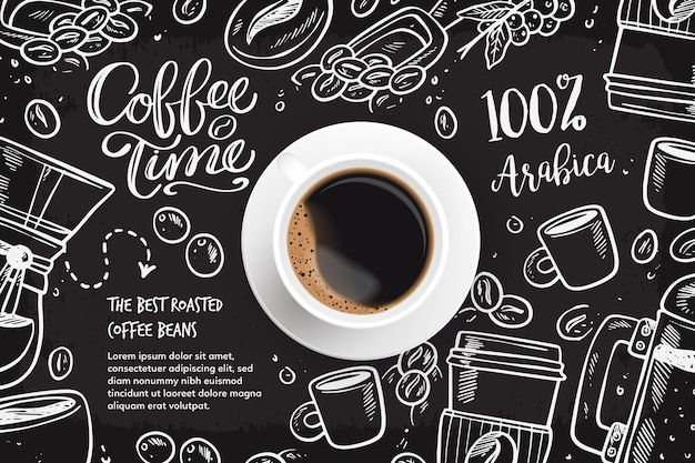 Fondo realista de café con dibujos