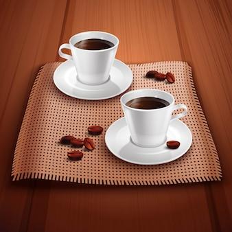 Fondo realista de café con dos tazas de porcelana en mesa de madera