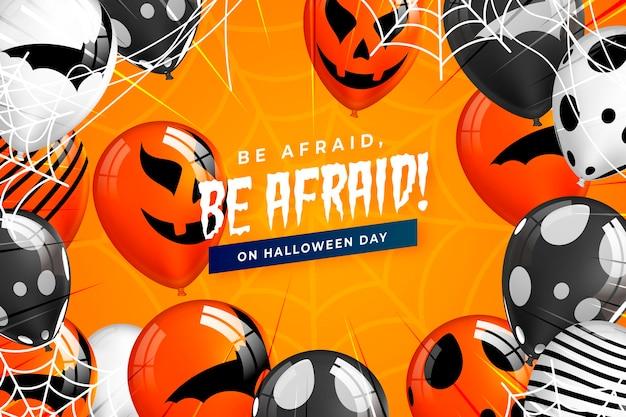 Fondo realista de calabazas de halloween con mensaje de miedo