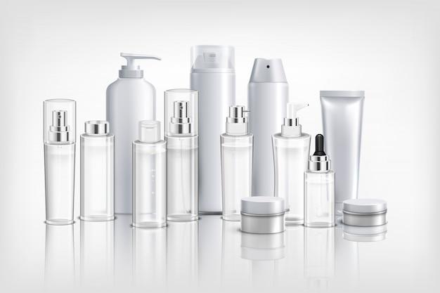 Fondo realista con colección de diferentes envases de cosméticos, tubos y frascos para aceite crema y bálsamo.