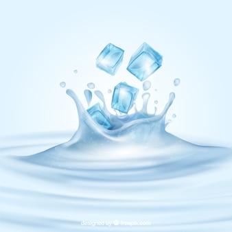 Fondo realista con cubitos de hielo y agua salpicando