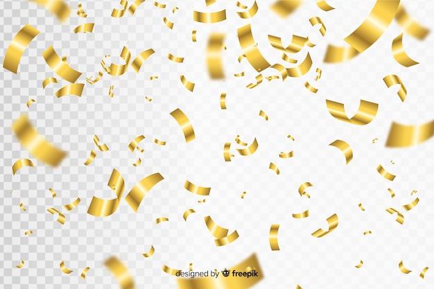 Fondo realista de confeti dorado