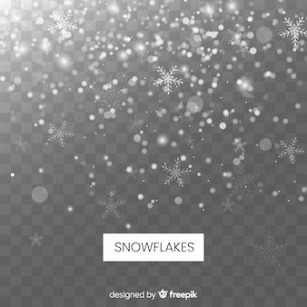 Fondo realista de copos de nieve cayendo en fondo transparente