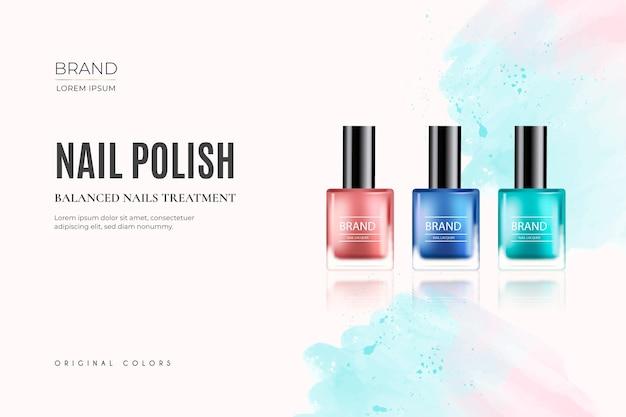 Fondo realista de cosméticos con esmalte de uñas