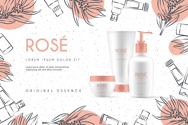 Fondo realista de cosméticos con productos de belleza