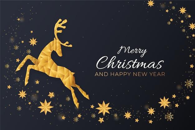Fondo realista de decoración de renos de navidad