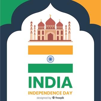 Fondo realista del día de la independencia de india en diseño plano