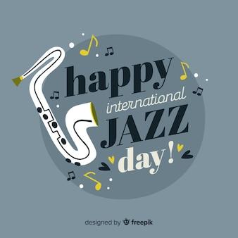 Fondo realista del día internacional del jazz en diseño plano