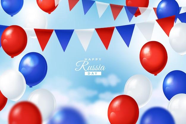 Fondo realista del día de rusia con globos