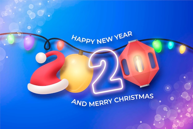 Fondo realista divertido año nuevo 2020 con luces de cadena