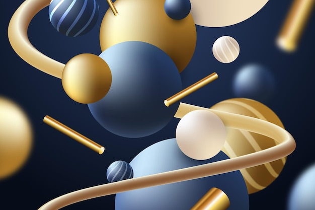Fondo realista con esferas azul oscuro