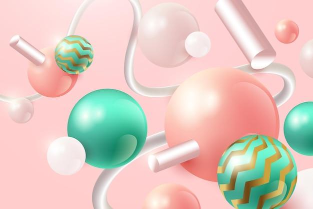 Fondo realista con esferas rosas y verdes.