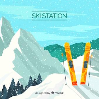 Fondo realista estación de esquí