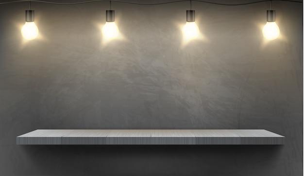 Fondo realista con estante de madera vacío iluminado por bombillas eléctricas.