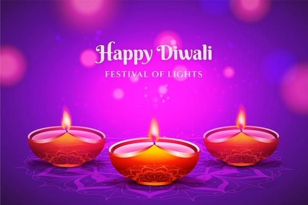 Fondo realista feliz diwali