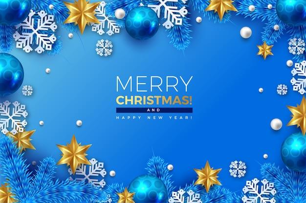 Fondo realista de feliz navidad con copos de nieve y bolas colgantes