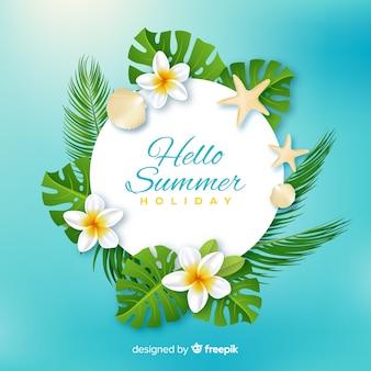 Fondo realista y floral de bienvenida al verano en la playa