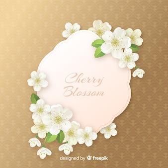 Fondo realista de flores de cerezo