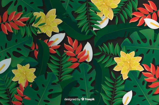 Fondo realista de flores y hojas tropicales