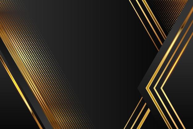 Fondo realista de formas geométricas elegantes en dorado y negro