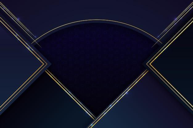 Fondo realista de formas geométricas elegantes con líneas doradas