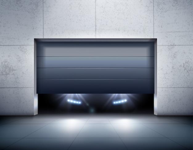 Fondo realista de garaje y coche
