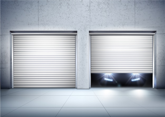 Fondo realista de garaje