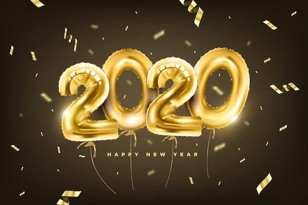 Fondo realista de globos de año nuevo 2020